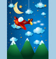 airplane over the mountain by night vector image