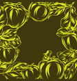 background with apples and leaves vector image