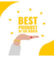 banner for review on the best product of the month vector image vector image
