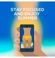 Beach concept hand holding smartphone and make vector image
