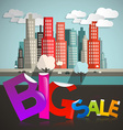Big Sale Title with City on Background vector image vector image