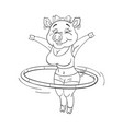black and white of cute female pig in a fitness vector image