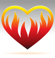 burning heart sign vector image vector image