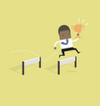 businessman jumping over obstacle with trophy vector image vector image