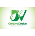 bv green leaf letter design logo eco bio leaf vector image vector image