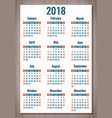 calendar for 2018 week starts sunday simple vector image vector image