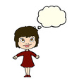 cartoon girl shrugging shoulders with thought vector image vector image