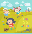 cheerful active boys and girl having fun while vector image vector image