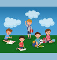 childrens activity in summer kindergarden colorful vector image vector image