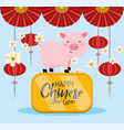 chinese year event with pig and cultural vector image vector image