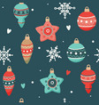 christmas pattern with cute decorations vector image vector image