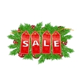 Christmas Sale banner fir tree branches with vector image
