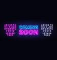coming soon neon sign soon design vector image