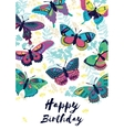 Congratulation card Happy Birthday with flying vector image vector image