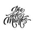 day of the dead hand lettering dia de los muertos vector image