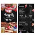 desserts and cakes menu chalkboard sketch vector image vector image