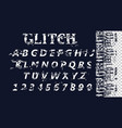 distorted glitch font trendy style vector image