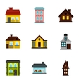 Dwelling icons set flat style vector image vector image