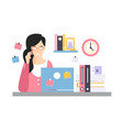 elegant businesswoman character sitting at the vector image vector image