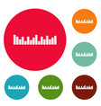 equalizer music icons circle set vector image vector image
