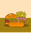 fast food burger hot dog and french fries vector image