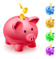 five colorful piggy banks of designer on white vector image vector image