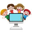 four happy children behind computer screen vector image vector image