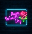 glowing neon banner of world womens day on dark vector image vector image