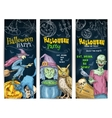 Halloween Party chalk sketch banners set vector image vector image