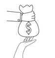 hand with money bag giving vector image vector image