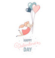 happy valentines day greeting card female vector image