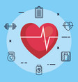 heart cardiology with fitness icons vector image