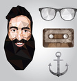 Hipster design with hipster elements and icons vector image