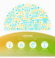 lighting concept in half circle with line icons vector image vector image