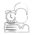 man with text books and alarm clock vector image