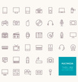 Multimedia Outline Icons for web and mobile apps vector image vector image