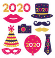 new year 2020 isolated party props set vector image