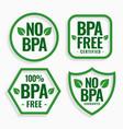 no bpa bisphenol-a and phthalates labels set vector image