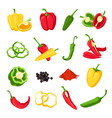 pepper and paprika red green and yellow sweet vector image