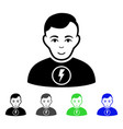 power man flat icon vector image