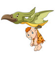 pterodactyl and cute baby vector image