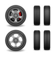 realistic wheel and tires set car tires vector image