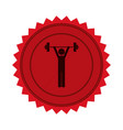 red circular seal with man weightlifting vector image vector image