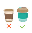 reusable coffee cup and disposable cup - zero vector image