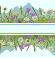 seamless horizon border with greenery vector image vector image