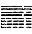 silhouettes of trains and locomotives vector image vector image