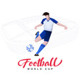 soccer player on stadium background vector image vector image