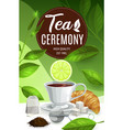 tea cup with lemon and mint leaves hot beverage vector image
