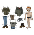 the redhead paper doll boy vector image