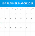 USA Planner blank for March 2017 Scheduler agenda vector image